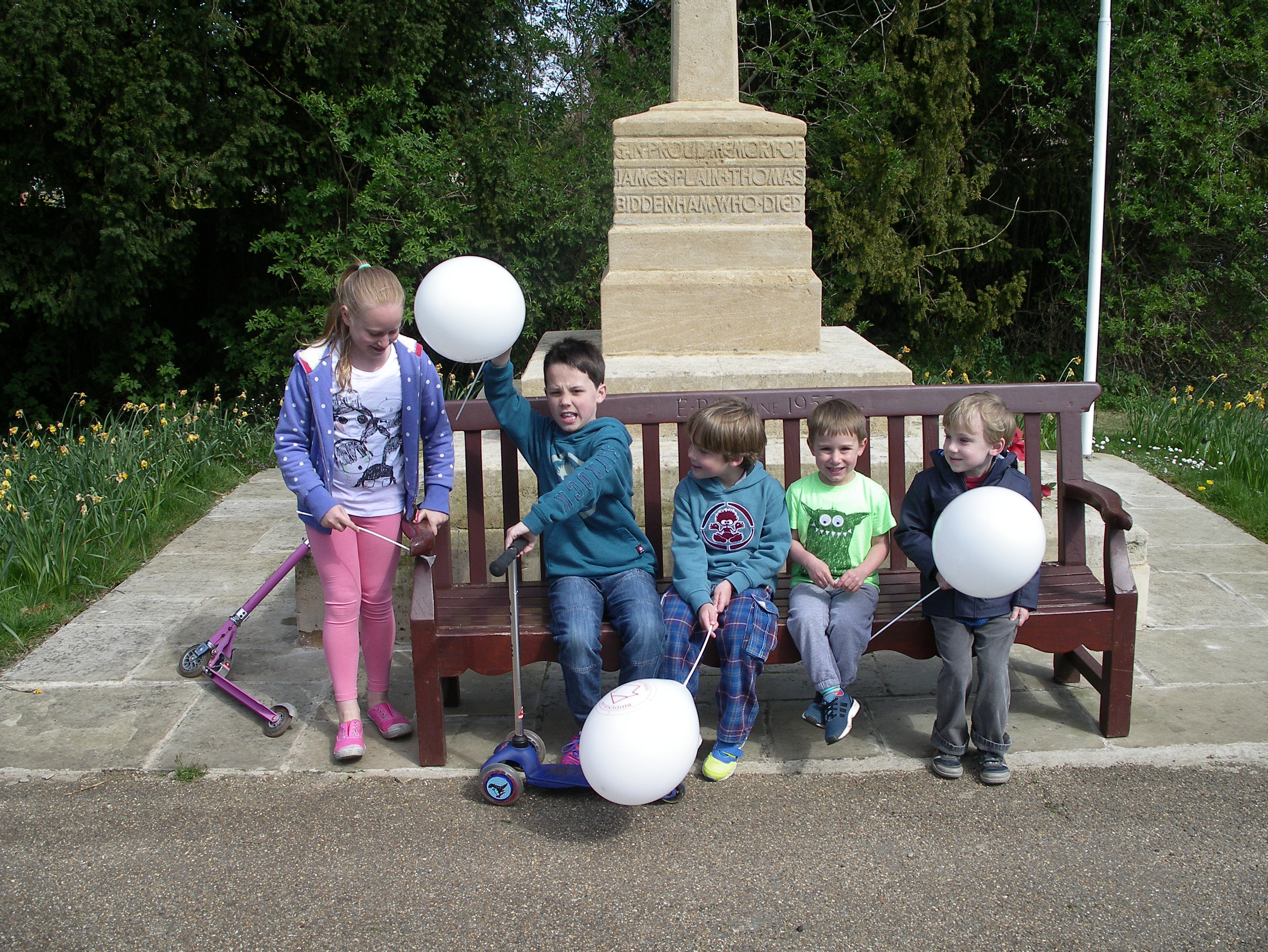 children at Biddenham heritage trail