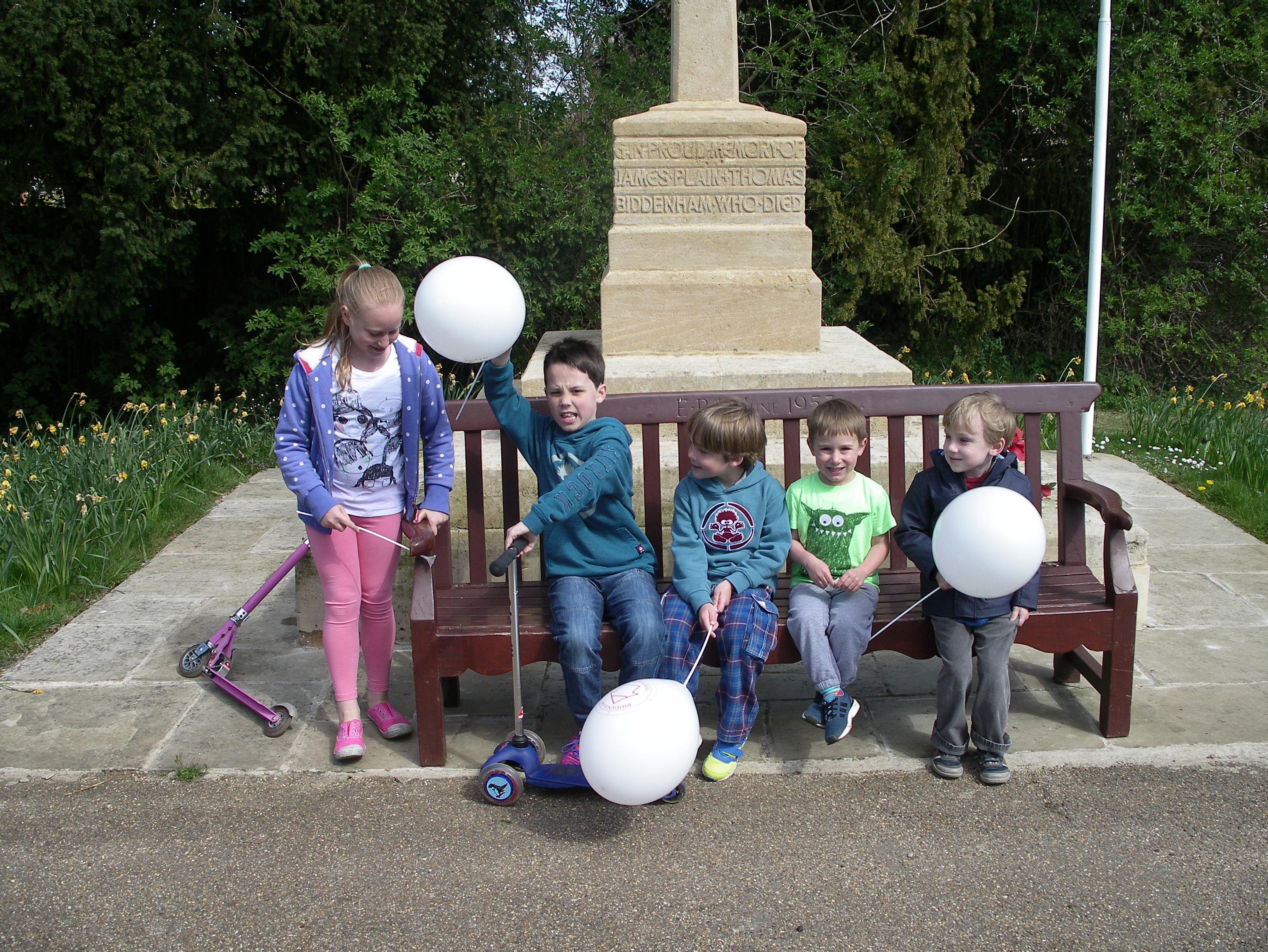 children at Biddenham heritage trail